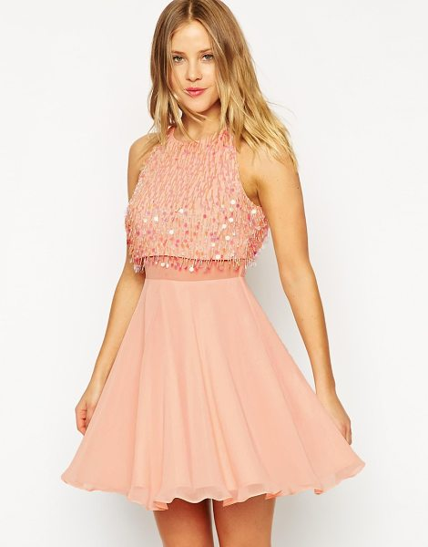 Asos Crop top skater dress with sequin droplets in nude - Skater dress by ASOS Collection Lined chiffon Bead and...