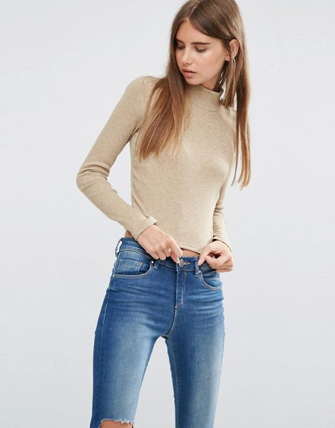 ASOS Crop Top with Turtleneck in Space Dye - Top by ASOS Collection, Ribbed jersey, Turtle neck,...