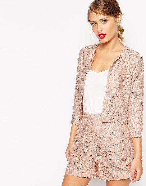Asos Cropped blazer in lace in nude - Blazer by ASOS Collection Lightweight, lined lace Open...