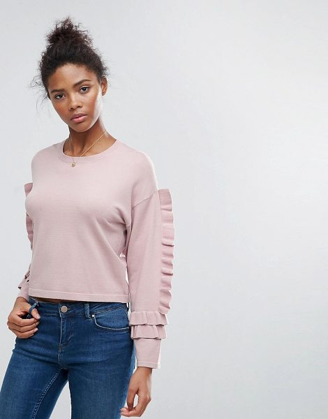 """ASOS Cropped Sweater With Frill Sleeve - """"""""Sweater by ASOS Collection, Soft-touch knit, Crew..."""