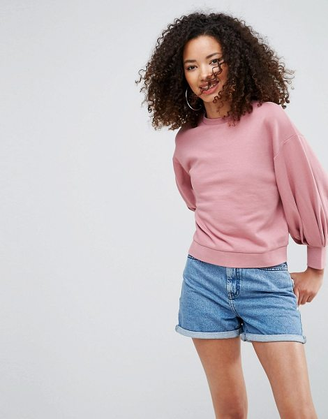 Asos Cropped Sweatshirt with Pretty Bell Sleeve in pink - Sweatshirt by ASOS Collection, Soft-touch sweat, Crew...