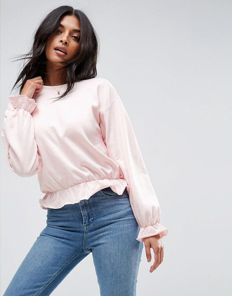"ASOS Cropped Sweatshirt with Pretty Ruffle Detail - """"Sweatshirt by ASOS Collection, Soft-touch sweat, Crew..."