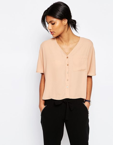 Asos Cropped V Neck Kimono Blouse in stone - Top by ASOS Collection, Lightweight woven fabric,...
