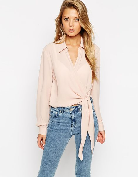 ASOS Cropped wrap front blouse - Blouse by ASOS Collection Semi-sheer chiffon Deep...