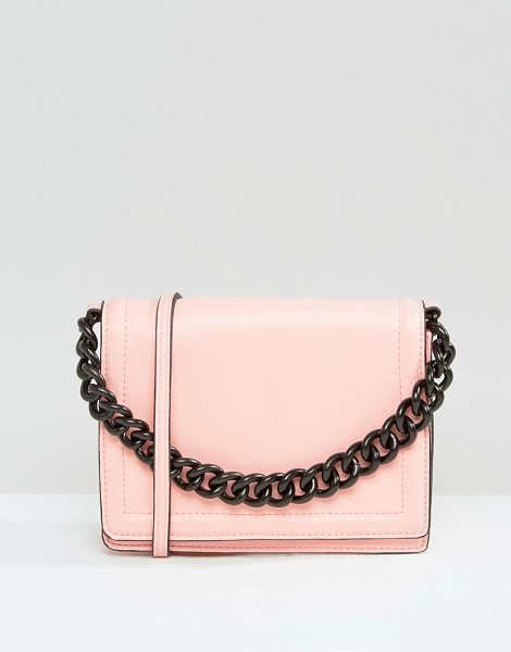 Asos Cross Body Bag With Coated Chain Handle in pink - Cart by ASOS Collection, Smooth faux-leather, Lined...