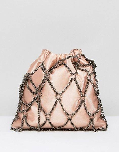 "Asos Chain Pouch Clutch Bag in pink - """"Clutch bag by ASOS Collection, Chain outer, Smooth..."