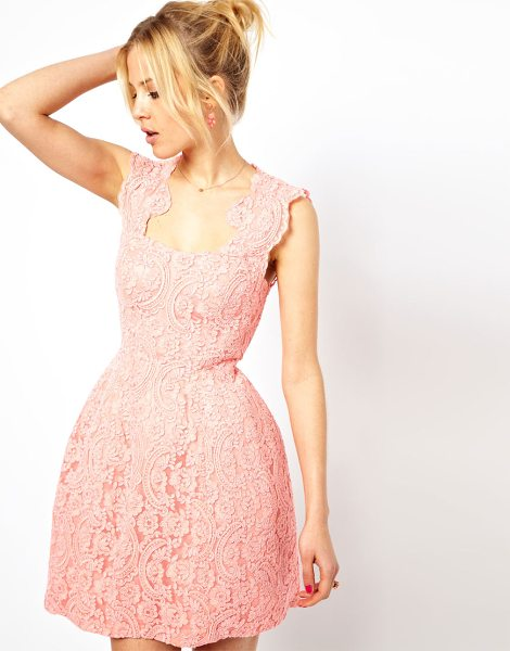 Asos Cupped Structured Dress In Lace in pink - Dress by ASOS Collection - Made from a cotton-blend...
