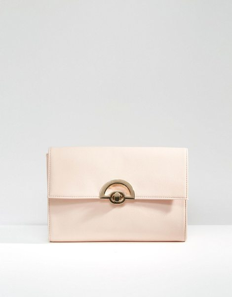 Asos Curved Lock Clutch Bag in pink