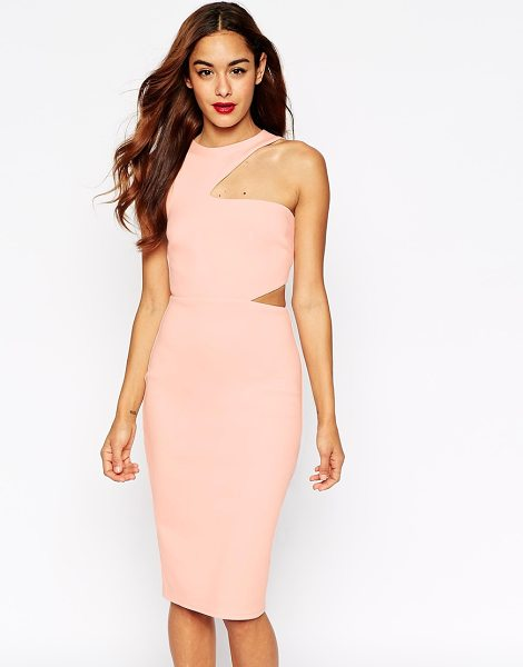 Asos Cut Out Asymmetric Body-Conscious Dress in pink - Dress by ASOS Collection, Soft touch stretch fabric,...