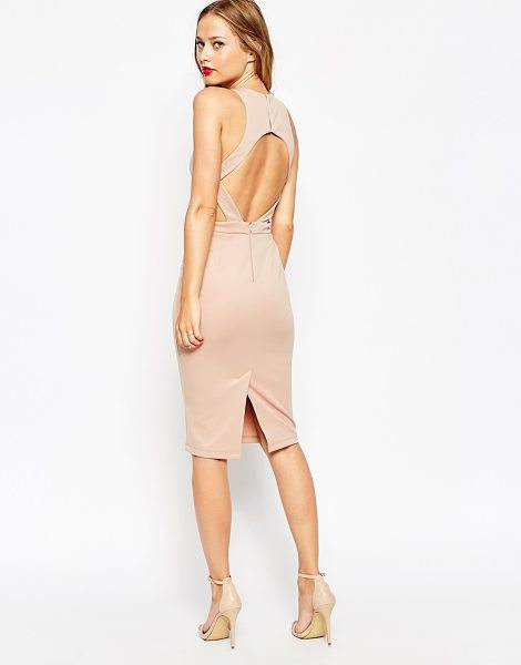 Asos Cut out back body-conscious midi dress in nude - Bodycon dress by ASOS Collection Slinky stretch fabric...