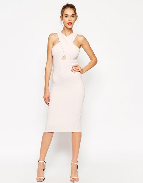Asos Cut out front ribbed midi body-conscious dress in pale pink - Body-Conscious dress by ASOS Collection Knitted ribbed...