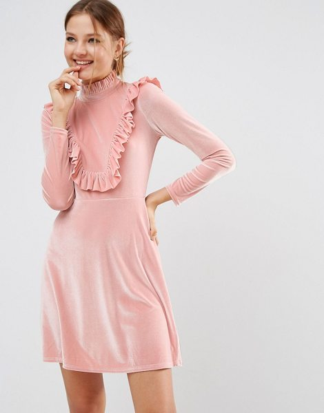 "Asos Cutie Pie Velvet Dress in nude - """"Dress by ASOS Collection, Soft-touch velvet, High..."