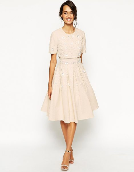 Asos Daisy Embellished Crop Top Skater Dress in cream - Dress by ASOS Collection, Woven fabric, Crew neckline,...