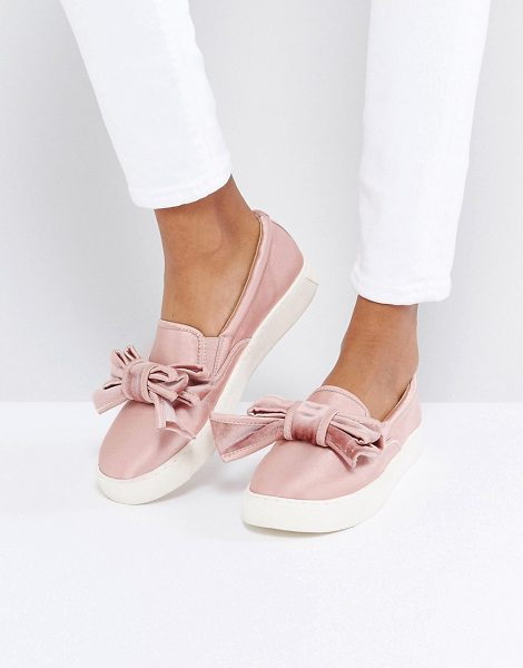 Asos DANDY Bow Sneakers in pink - Plimsolls by ASOS Collection, Satin upper, Slip-on...