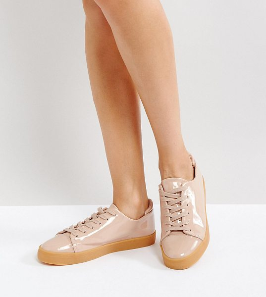 Asos DARLEY Patent Clean Lace Up Sneakers in beige - Sneakers by ASOS Collection, Faux-leather upper, Patent...