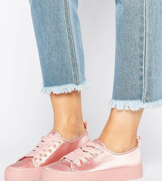 Asos DARLING Wide Fit Satin Sneakers in beige - Sneakers by ASOS Collection, Satin-style upper, Lace-up...