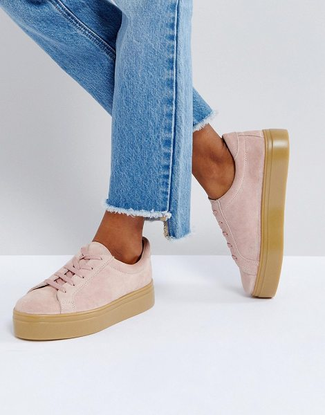 Asos DAY LIGHT Suede Lace Up Sneakers in pink - Sneakers by ASOS Collection, Suede upper, Lace-up...