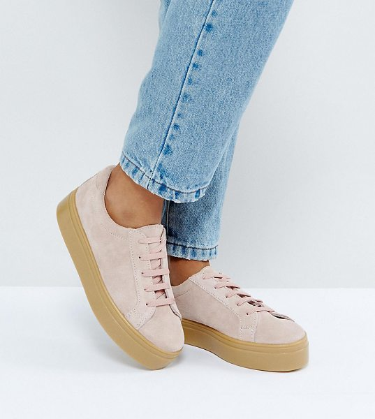 Asos DAY LIGHT Wide Fit Suede Flatform Lace Up Sneakers in pink - Sneakers by ASOS Collection, Suede upper, Lace-up...