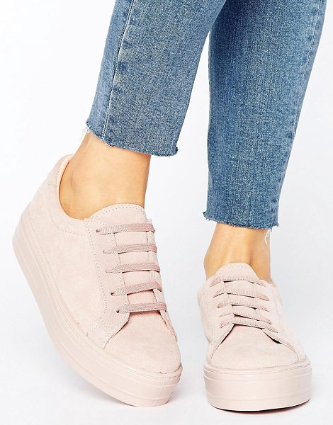 Asos DAY Suede Flatform Sneakers in beige - Sneakers by ASOS Collection, Textile upper, Lace-up...