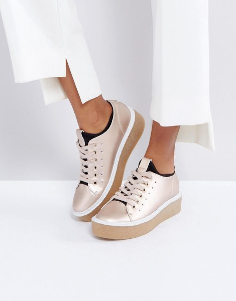 Asos DEAL BREAKER Sock Sneakers in gold - Sneakers by ASOS Collection, Faux-leather upper,...
