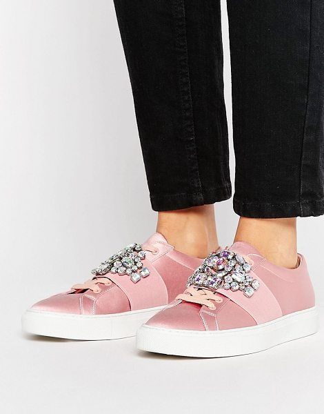 Asos DECODE Embellished Sneakers in pink - Sneakers by ASOS Collection, Satin upper, Lace-up...
