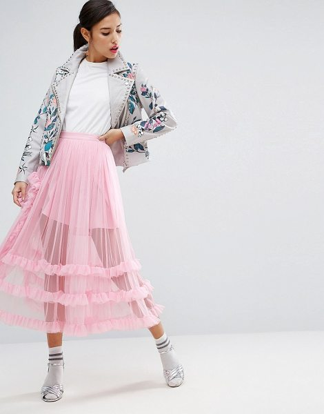 Asos Deconstructed Sheer Tulle Prom Skirt in pink - Midi skirt by ASOS Collection, Sheer woven tulle,...