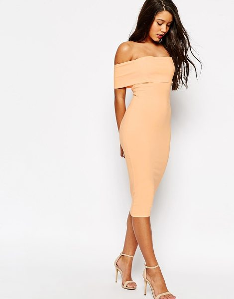 Asos Deep off the shoulder bardot midi bodycon dress in pink - Evening dress by ASOS Collection, Stretch fabric,...