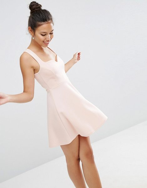 Asos Deep Plunge Scuba Skater Sweetheart Mini Dress in pink - Skater dress by ASOS Collection, Scuba fabric,...