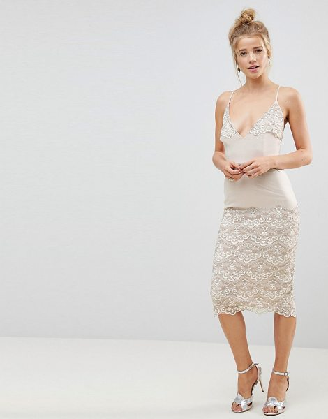 Asos ASOS Delicate Placement Lace Cami Midi Pencil Dress in cream - Dress by ASOS Collection, Plunge V-neck, Take a dive,...