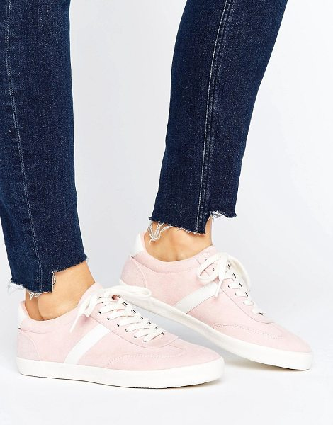 Asos DELPHINE Stripe Lace Up Sneakers in pink - Sneakers by ASOS Collection, Textile upper, Lace-up...
