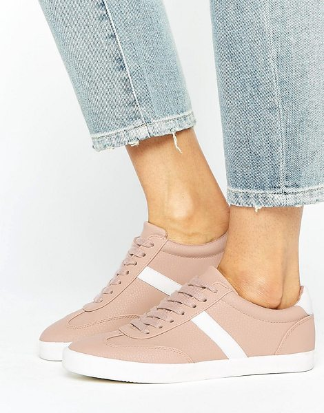 Asos DELPHINE Stripe Lace Up Sneakers in beige - Sneakers by ASOS Collection, Textured faux-leather...