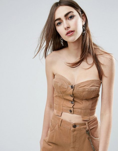 "Asos Denim Button Through Corset in Washed Brown Co-ord in brown - """"Top by ASOS Collection, Cotton denim, Cupped design,..."