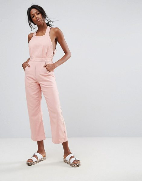 "Asos Denim Halter Jumpsuit in Soft Pink in pink - """"Jumpsuit by ASOS Collection, Non-stretch denim,..."
