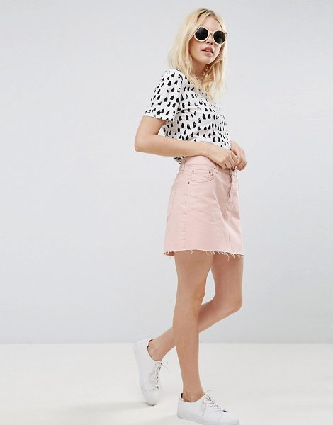 "Asos Denim Low Rise Skirt in Washed Pink in pink - """"Skirt by ASOS Collection, Cotton denim, Low rise,..."