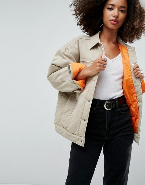 ASOS DESIGN denim wadded jacket in stone in stone