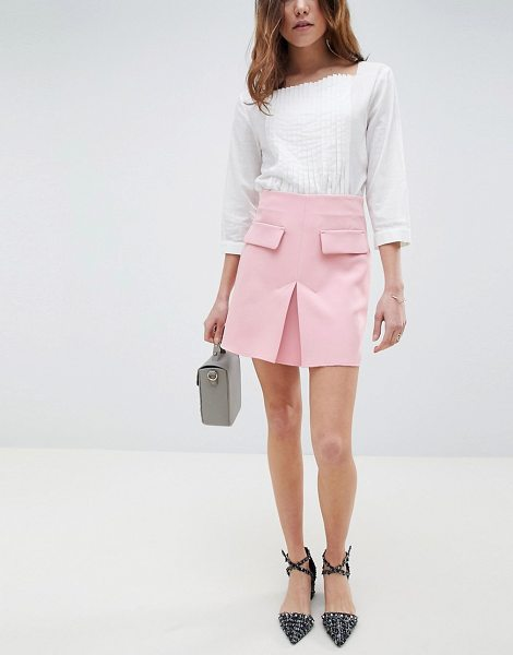 ASOS DESIGN a line mini skirt with pocket front detail in blush - Skirt by ASOS DESIGN, High rise, Just like your...