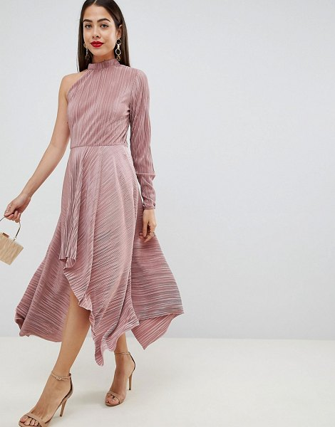 ASOS DESIGN asymmetric one sleeve plisse dress in mink - Dress by ASOS DESIGN, Some days call for a little extra,...