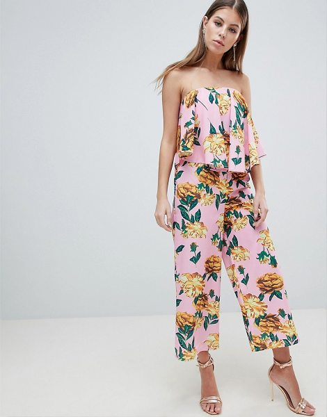 ASOS Bandeau Jumpsuit With Drape Detail In Pink Floral in pinkfloral - Jumpsuit by ASOS DESIGN, Fully lined, Bandeau neck, A...