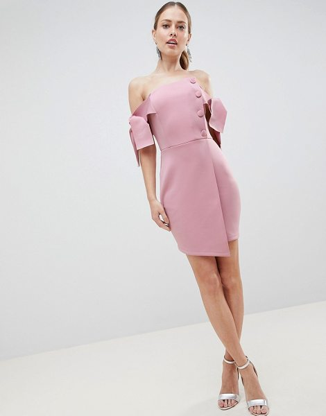 ASOS DESIGN bardot tie sleeve button wrap mini dress in mink - Dress by ASOS DESIGN, For a look as lit as your plans,...