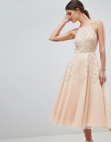 ASOS DESIGN beaded backless midi dress in nude - Dress by ASOS DESIGN, Take that dress code up a level,...