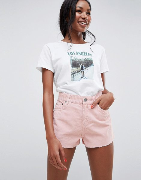 ASOS DESIGN cord short with raw hem in pale pink in pink - Shorts by ASOS DESIGN, Put your jeans away for the day,...