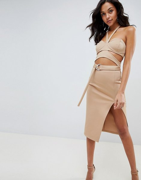 ASOS cut out bust cup halter midi dress in beige - Dress by ASOS DESIGN, This is a bit of you, Halter neck,...
