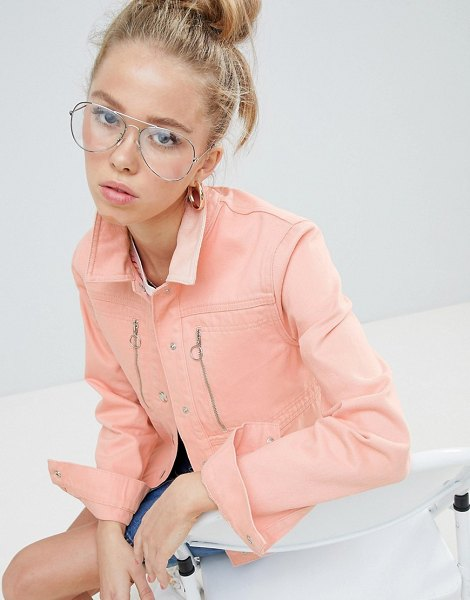 ASOS DESIGN denim jacket in washed pink with zip detail in pink