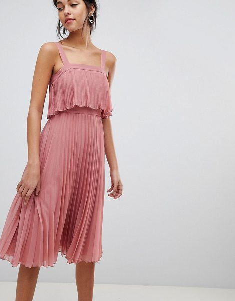 ASOS DESIGN double layer pleated cami midi dress in tearose - Dress by ASOS DESIGN, Take that dress code up a level,...