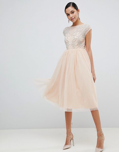ASOS DESIGN embellished open back tulle midi dress in nude - Dress by ASOS DESIGN, Mid-weight finish, Slash neck,...