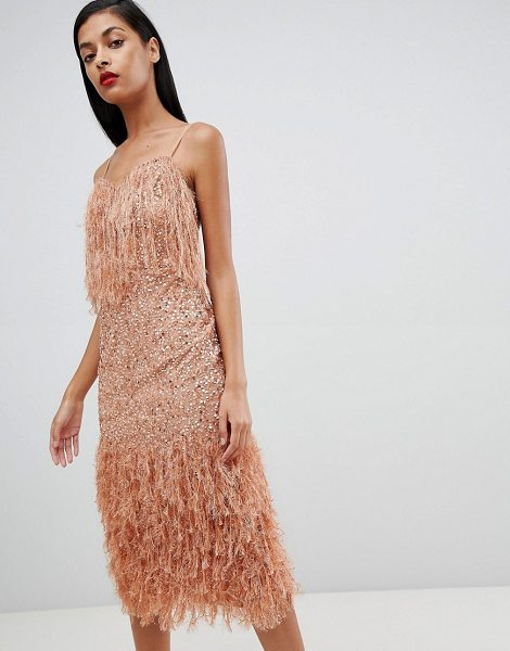 ASOS DESIGN faux feather trim sequin midi dress in mink - Dress by ASOS DESIGN, Some days call for a little extra,...