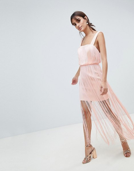 ASOS DESIGN fringe square neck scuba midaxi dress in nude - Dress by ASOS DESIGN, This is a bit of you, Square neck,...