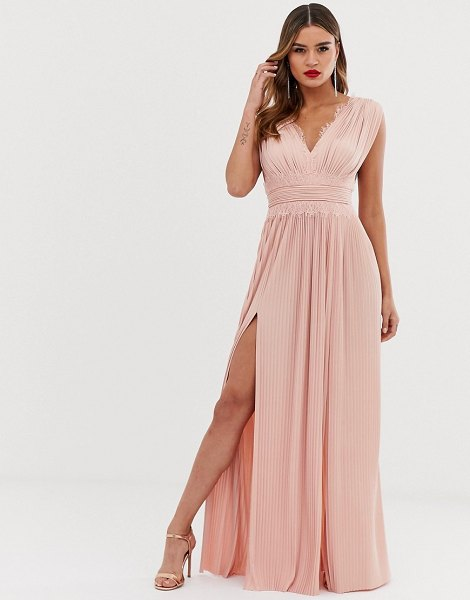 ASOS DESIGN fuller bust premium lace insert pleated maxi dress-pink in pink