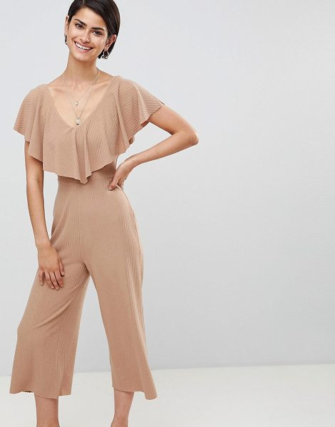 ASOS DESIGN jumpsuit in rib jersey with overlay detail in tan - Jumpsuit by ASOS DESIGN, Done in one, Ribbed finish,...