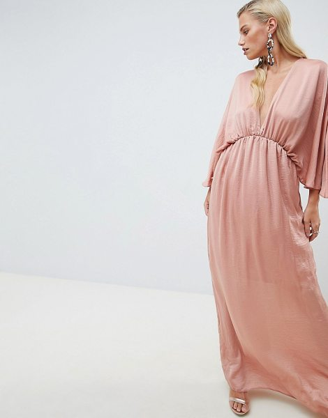 ASOS DESIGN kimono maxi dress in satin in dustyrose - Dress by ASOS DESIGN, Dress for the mood you want,...